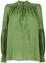 Plein Sud Jeans lace up pleated blouse - women - Cotton - 38