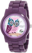 Sprout Women's ST/5034MPPR Purple Corn Resin Bracelet Owl Dial Watch
