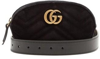 Gucci GG Marmont Quilted-velvet Belt Bag - Womens - Black
