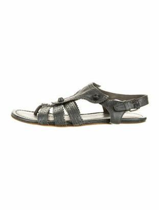 Balenciaga Leather Studded Accents Gladiator Sandals Grey