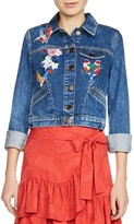 Maje Vivo Embroidered Denim Jacket