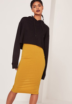 Missguided Ribbed Midi Skirt Yellow