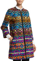 Etro Tribal-Striped A-Line Coat, Green