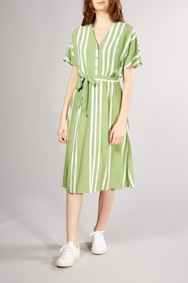 Selected GREEN STRIPE VIENNA MIDI DRESS - 34