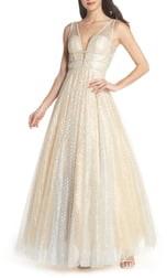 Mac Duggal Sequin Illusion Neck Gown
