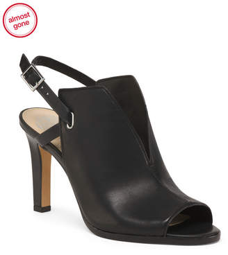 Peep Toe Back Strap Leather Heels