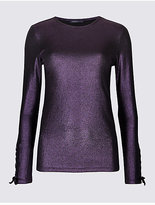 Limited Edition Ribbed Lace Cuff Long Sleeve T-Shirt