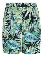 Yours Clothing YoursClothing Plus Size Womens Tropical Palm Print Flat Front Shorts Pockets