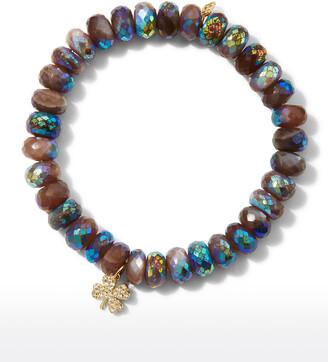 Sydney Evan 16k Diamond Clover Chocolate Moonstone Bracelet