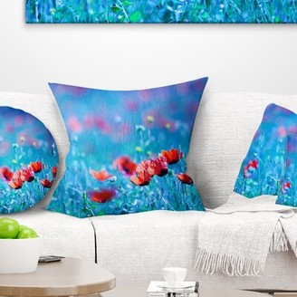 """East Urban Home Floral Poppy Flowers Field at Night Throw Pillow Size: 16"""" x 16"""", Product Type: Throw Pillow"""
