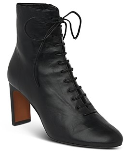 Whistles Women's Dahlia Lace-Up Stacked Heel Booties