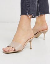 New Look leather look stiletto mules in oatmeal