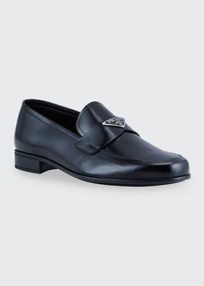 Prada Men's Smooth Leather Logo-Plaque Loafers