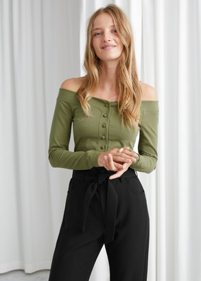 And other stories Fitted Button Up Off Shoulder Cardigan