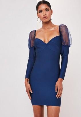 Missguided Premium Blue Bandage Organza Insert Mini Dress