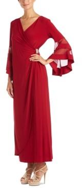 R & M Richards Petite Illusion-Sleeve Dress