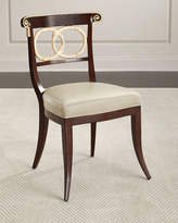 Ambella Amie Leather Accent Chair, Brown/Ivory