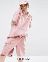 Jaded London X Granted Short Sleeve Hoodie In Distressed Fabric