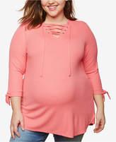 Motherhood Maternity Plus Size Lace-Up Top