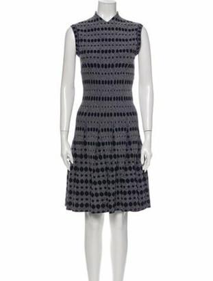 Alaia Patterned Knee-Length Dress Blue