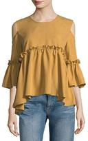 Lumie Ruffled Cold-Shoulder Blouse