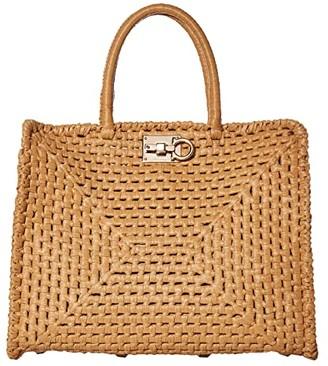 Salvatore Ferragamo The Studio Raffia Top-Handle (Almond) Handbags