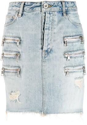 Unravel Project Zip Pockets Denim Skirt
