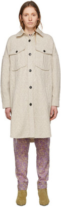 Etoile Isabel Marant Off-White Wool Obira Coat