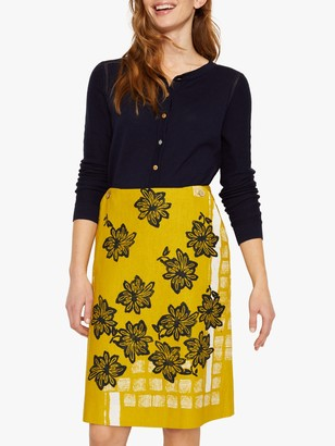 White Stuff Shibori Floral Print Skirt, Mustard Yellow