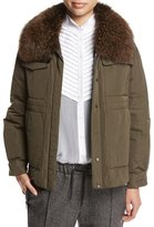 Brunello Cucinelli Taffeta Puffer Jacket with Fox Fur Collar