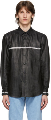 Burberry Black Linen Logo Stripe Shirt