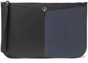 Kate Spade Logo-appliqued Two-tone Leather Pouch
