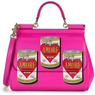 Dolce & Gabbana Amore Soup-Print Leather Satchel