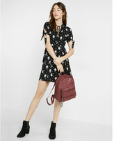 Express floral print button front fit and flare dress