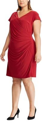 Chaps Plus Size Cap Sleeve Side Drape Dress