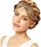 Baishitop Pearl Tassel Flower Stretch Crystal Hair Chain