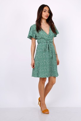Lilura London Summer Green Daisy Dot Wrap Front Mini Dress