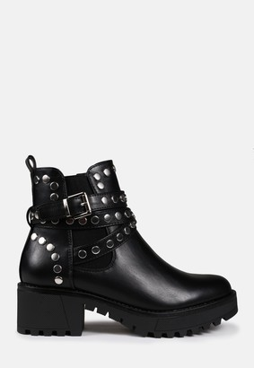 Missguided Black Studded Buckle Ankle Boots