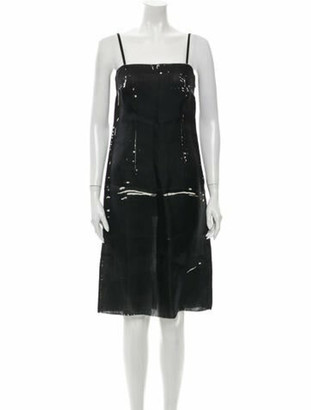 Prada Silk Knee-Length Dress Black