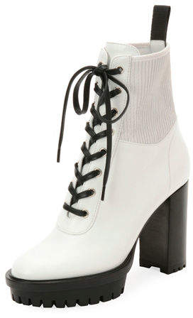 Gianvito Rossi Leather Stretch Platform Combat Booties
