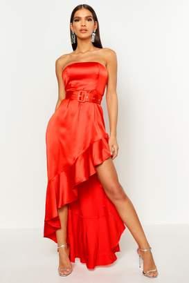 boohoo Satin Belted Asymmetric Ruffle Maxi Dress