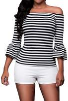 Min Qiao Women's Sexy Off Shouler 3/4 Trumpet Sleeve White Stripes Blouses Tops T Shirt