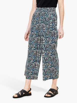Oasis Ditsy Print Cropped Trousers, Multi