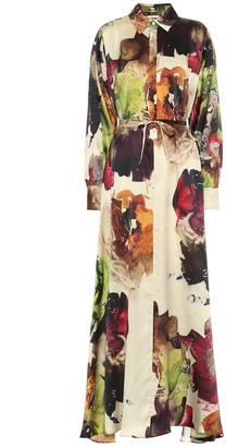 Co Printed silk maxi shirt dress