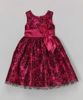 Jayne Copeland Wine & Black Lace A-Line Dress - Toddler & Girls