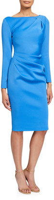 Jovani Long-Sleeve High-Neck Draped Front Scuba Dress