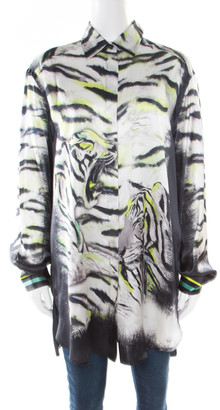 Just Cavalli Tiger Printed Silk Long Sleeve Shirt Dress M