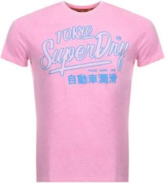Superdry Vintage Ticket Type Logo T Shirt Pink