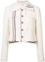 Thom Browne frayed cropped denim jacket - women - Silk/Cotton - 38