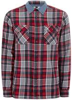Topman Red Denim Check Shirt